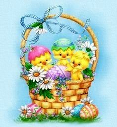 Happy, silly chicks in an Easter basket. By Penny Parker. Easter Art, Easter Crafts, Easter Bunny, Easter Decor, Easter Eggs, Ostern Wallpaper, Penny Parker, Decoupage, Easter Illustration