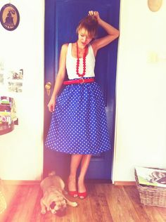 Vintage Polka Dot Silk Skirt, Vintage Belt, Zara Wedges, Lulu <3