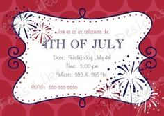 Patriotic Red, White, and Blue 4th of July party invitation
