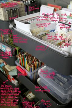 Check out all you can organize and fit on to one of those awesome IKEA carts! Hello, craft and art supply storage. Via Pam Garison