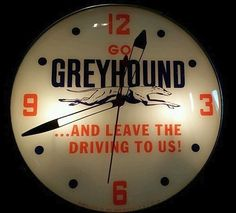 """Greyhound Antique Clock (Old 1950 Vintage Bus Advertising Round Lighted Pam Sign, """"...And Leave the Driving To Us!"""")"""