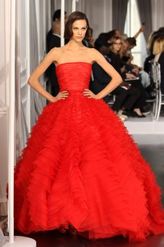 Dior Haute Couture Spring Summer 2012 – Look 40: Red silk dress. Discover more on www.dior.com