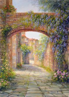 Watercolor Landscape, Landscape Art, Landscape Paintings, Landscapes, Cool Paintings, Beautiful Paintings, Kinkade Paintings, Beau Site, Cottage Art