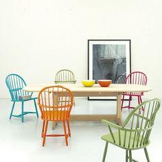 love the multi colored chairs. london design festival.