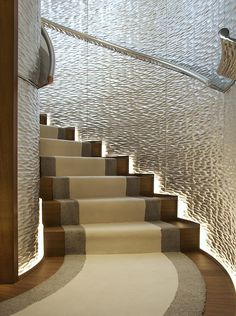 Yacht 'A' by Starck Silver leaf adzed walls Brilliant craftsmanship by all at DWH.de