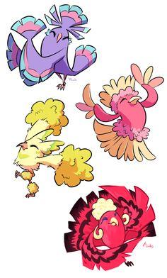 Oricorio in all four Pokemon variants