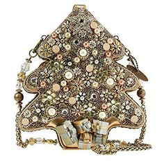 Mary Frances All Aglow Gold Tree Christmas Holiday Handbag