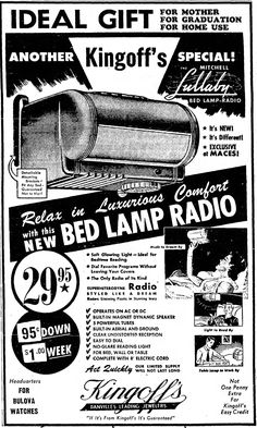 https://flic.kr/p/vasNqY | Vintage Newspaper Advertising For The Mitchell Lullaby Bed Lamp Radio, Model 1250, The Danville Virginia Bee, May 4, 1950