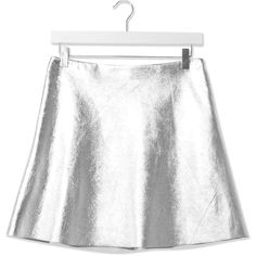Leather Circle Skirt by Boutique ($250) ❤ liked on Polyvore featuring skirts, silver, high waisted skater skirt, a-line skirt, white skirt, leather skater skirt and skater skirt