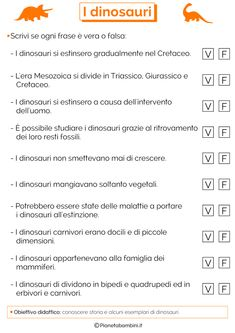 I Dinosauri: Schede Didattiche per la Scuola Primaria | PianetaBambini.it Learning Italian, Study Skills, Teaching History, Primary School, Ancient History, Studio, Education, 3, Terra