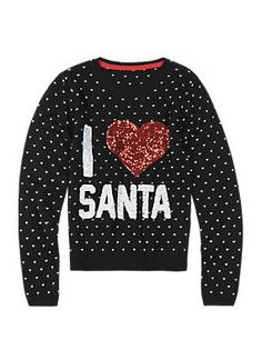 Sequin Embellished Heart Christmas Jumper with Wool (5-14 Years)