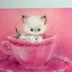 Vintage Christmas Greeting Note Card Adorable White Cat In Pink Tea Cup Vintage Christmas Images, Retro Christmas, Vintage Holiday, Christmas Cats, Old Cards, Xmas Cards, Vintage Greeting Cards, Vintage Postcards, Images Noêl Vintages