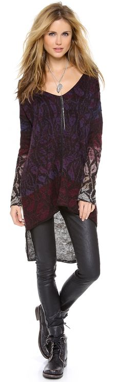 Super cool and delicate patterned sweater by Free People. Totally hip. NO LEATHER JEGGINGS ;) But I love the top!