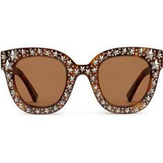 e12b217597b2 Gucci Cat Eye Acetate Sunglasses With Stars (1225440 IQD) ❤ liked on  Polyvore featuring accessories