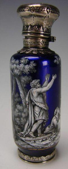Antique french Limoges Enamel scent perfume bottle.