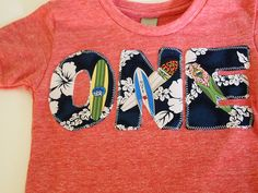 Surfboard Birthday Tee Organic Shirt Blend boys birthday shirt surfing waves beach theme Hawaiian. $25.00, via Etsy.