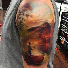 Kyle Cotterman tattoo artist from the Distinction Tattoo studio specializes in color realism.
