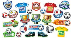 Your young football fans will love these assorted shape stickers that are ideal for rewarding any occasion.      24 mixed designs     240 stickers per pack     Ref: SP2  Price     £11.25 FREE UK DELIVERY     (£9.38 ex VAT)