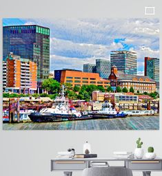 Hamburger Stadtteil St. Pauli und Pier mit Hafenschleppern von der Elbe aus gesehen, Deutschland St Pauli, Hamburger, Illustration, Times Square, Travel, Pictures, Printing On Wood, Artist Canvas, Digital Art