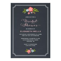 Elegant modern chic bridal shower party invitation design with calligraphy script typography and a cute illustrated border of leaves and flowers on a printed faux chalkboard texture background. Click the CUSTOMIZE IT button to customize fonts, move text around and create your own unique one-of-a-kind invitation design. #modern #floral #fall #wedding #bridal #shower #bridal #shower #invitations #wedding #shower #chalkboard #chalk #chalkboard #bridal #shower #invitations #chalkboard #floral…