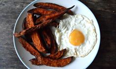 Sweet potato wedges and fried egg