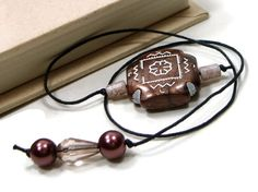 Book Thong Beaded Bookmark Chocolate Brown Book Cord by TJBdesigns, $4.00