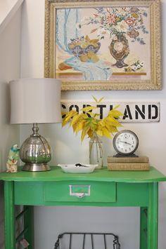 Paint color:  Valspar Simply Green 6002-8C, eggshell   Lamp: TJ Maxx