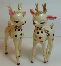 Vintage-1950s-60s-Christmas-Santa-and-Reindeer-Plastic-Celluloid-Chenille-Japan