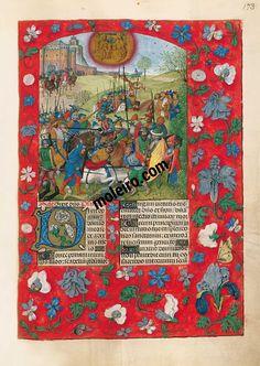 f. 173r, Apologie de la conquête de Grenade en 1492 - Abraham sauvant Lot et récompensé par Melchisédech
