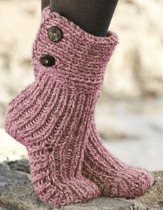 Womens Hand Knitted Chunky Slipper Boots Hand Made Custom Crochet Socks, Knitting Socks, Hand Knitting, Knit Crochet, Knitting Patterns, Knitted Boot Cuffs, Knit Boots, Knitted Slippers, Knitted Booties