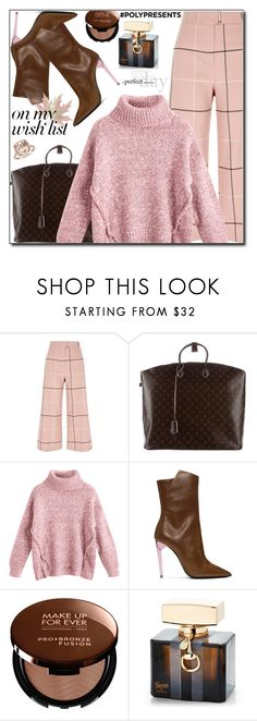 """""""#PolyPresents: Wish List"""" by boky-d ❤ liked on Polyvore featuring River Island, Louis Vuitton, Yves Saint Laurent, MAKE UP FOR EVER, Gucci and Blue Nile"""