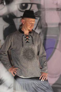 Men's long sleeve Oum shirt  - Ethnic Kurta #clothing #shirt @EtsyMktgTool http://etsy.me/2y1OyxT