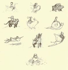 Original oldie sketches. Little thumbnails from the first inklings of Dream Animals by Emily Winfield Martin.