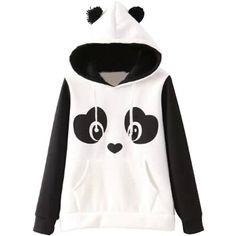 Lovable Panda Pattern Hoodie (43 AUD) ❤ liked on Polyvore featuring tops, hoodies, panda, white top, fur hooded sweatshirt, long sleeve hoodie, white fur hoodie and long sleeve tops