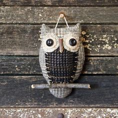 Primitive Owl Folk Art Ornie Ornament Owl by rockriverstitches, $23.00