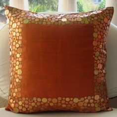 Rust Glamor - Throw Pillow Covers - 16x16 Inches Silk Dupion Pillow Cover with Sequins. $26.20, via Etsy.