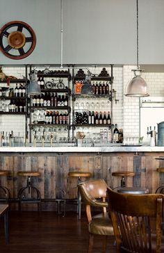 Bar - Recycled Wood, Tile, Pendants photo by bonnie tsang