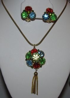 Quality Vintage Red,Blue,Green Rhinestone Pendant Necklace/ Clip On Earrings Set