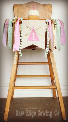 Teepee Birthday Banner Highchair High Chair Tee by RawEdgeSewingCo