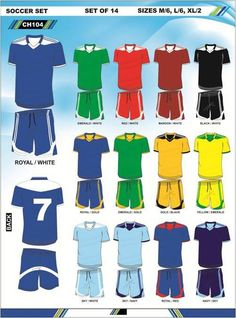 Variation of different soccer kits provided.