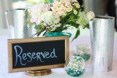 Mrs. Fox's table decor #flowers #babysbreath #rustic #wedding #decorations