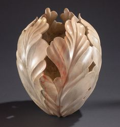 Moon Flower Carved Wood Vessel by Hearthstone Studios. Moon Flower by Ron Fleming at Hearthstone Studios. Clay Vase, Wood Creations, Gourd Art, Wooden Art, Studios, Ceramic Clay, Stone Carving, Wood Sculpture, Wood Turning