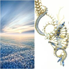 andrealidesignsFrosted meadows and winter skies today's fashion inspiration. Paired with one of my Vintage Remix pieces #jewelry #andreali #blue #vintage #gold #coral #topaz #Swarovski #white