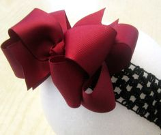 Maroon Wine Double Layered Hair Bow Spikey Lush Boutique Princess Burgandy Hairbow. $6.25, via Etsy.