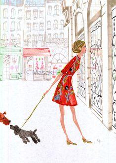 dress : Dolce & Gabbana | illustration by Masaki Ryo.
