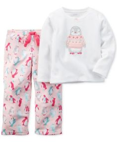 Carter's Baby Girls' 2-Piece Ivory Penguin Pajamas