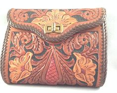 Hand Tooled Leather Clutch Purse, Floral Design