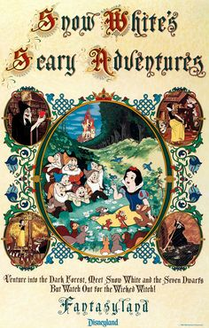 """Snow White's Scary Adventures"" Disneyland Park Poster (Walt Disney, ""Venture in two the - Available at 2017 December 9 - 10 Animation. Poster Disney, Vintage Disney Posters, Retro Disney, Vintage Disneyland, Disneyland California, Disneyland Resort, Disney Love, Tokyo Disneyland, Walt Disney"