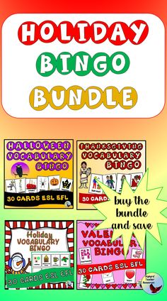 Have Some Fun With Your English Language Learners With This Holiday Bingo Bundle For Esl Newcomers And Esl Beginners. Purchase The Bundle And Save On Halloween Bingo, Thanksgiving Bingo, Holiday Bingo, And Valentine Bingo. Bingo Holiday, Thanksgiving Bingo, Valentine Bingo, Teach English To Kids, Teaching English, Learn English, English Writing Exercises, Grammar Exercises, English Verbs