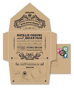 Aquí, el propio sobre es la invitación. Hasta incluye indicaciones de cómo llegar al salón. Invitaciones de boda. Imagen: Etsy